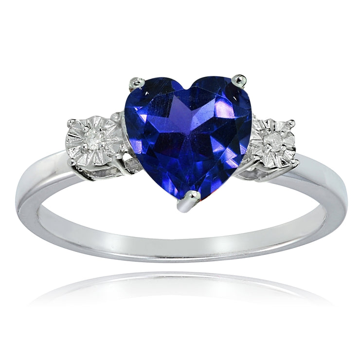 Sterling Silver Created Blue Sapphire and Diamond Accent Heart Ring