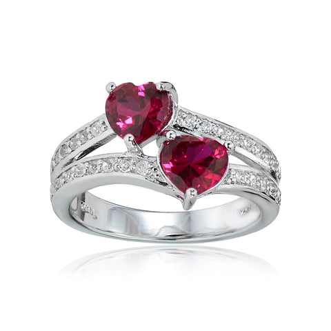Sterling Silver Created Ruby and White Topaz Double Heart Friendship Ring