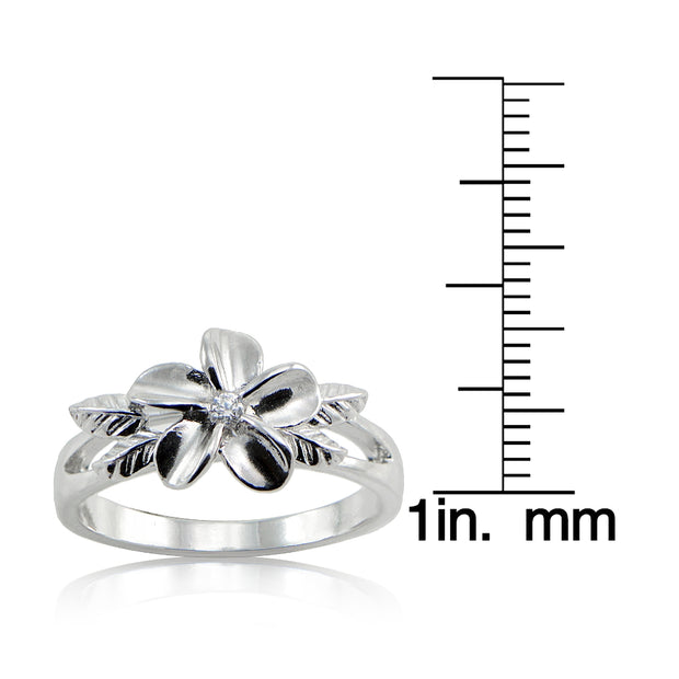 Sterting Silver Cubic Zirconia Maile Leaf Hawaiian Flower Band Ring,