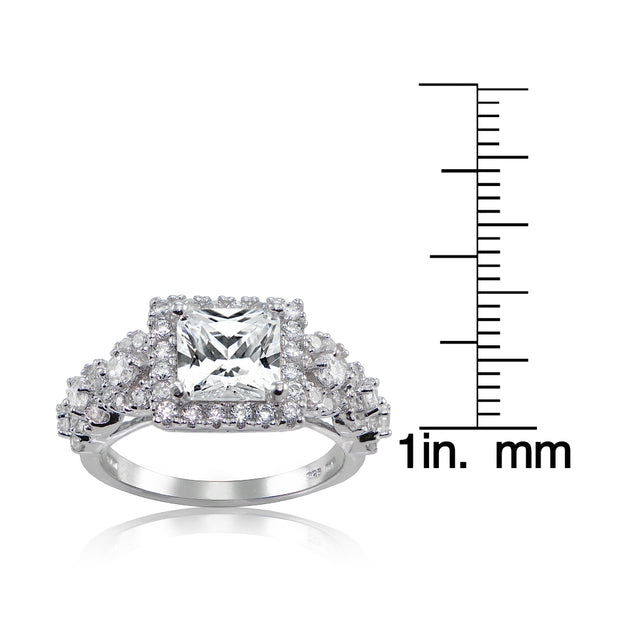 Sterling Silver Princess Cut Cubic Zirconia Halo Engagement Ring,