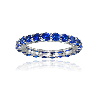 Sterling Silver Created Blue Sapphire 3mm Round-cut Eternity Band Ring