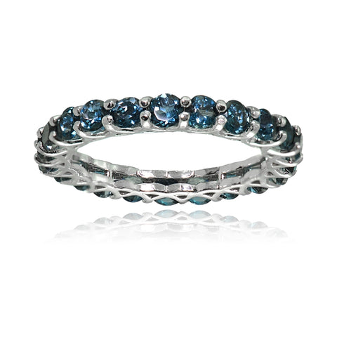 Sterling Silver London Blue Topaz 3mm Round-cut Eternity Band Ring