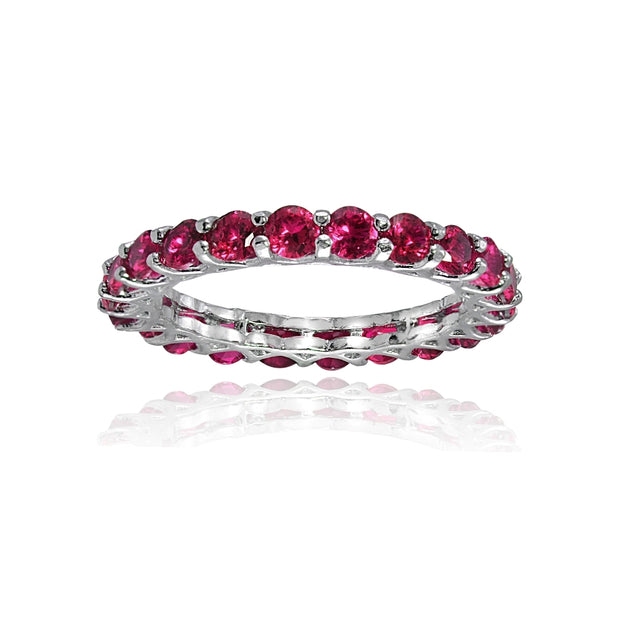 Sterling Silver Created Ruby 3mm Round-cut Eternity Band Ring