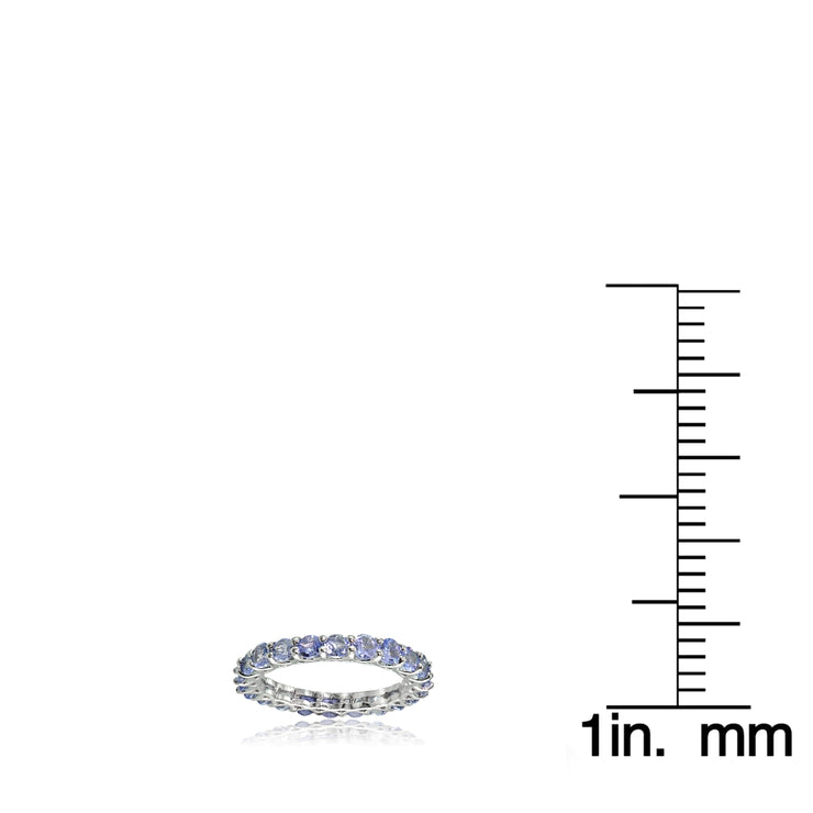 Sterling Silver Tanzanite 3mm Round-cut Eternity Band Ring