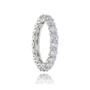 Sterling Silver Cubic Zirconia 3mm Round-cut Eternity Band Ring