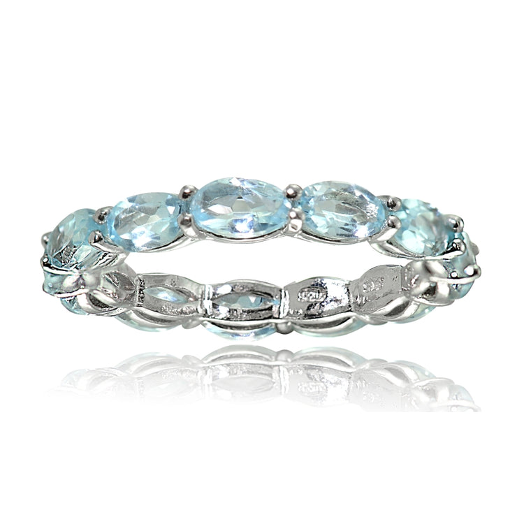 Sterling Silver Blue Topaz x3mm Oval-cut Eternity Band Ring