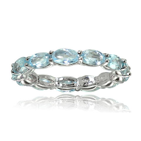 Sterling Silver Blue Topaz 5x3mm Oval-cut Eternity Band Ring