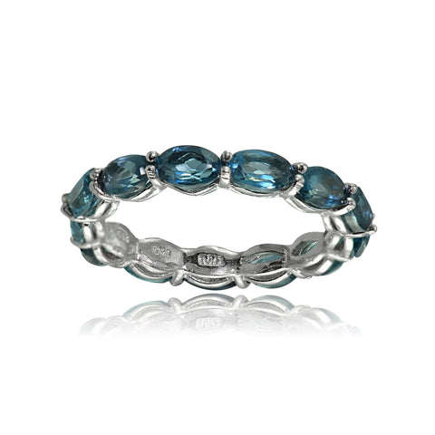 Sterling Silver London Blue Topaz 5x3mm Oval-cut Eternity Band Ring