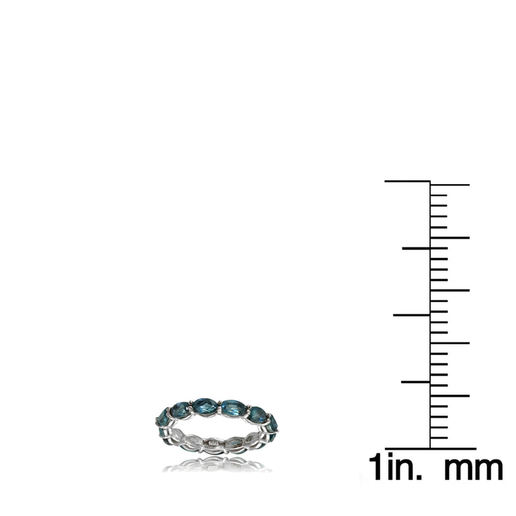 Sterling Silver London Blue Topaz x3mm Oval-cut Eternity Band Ring