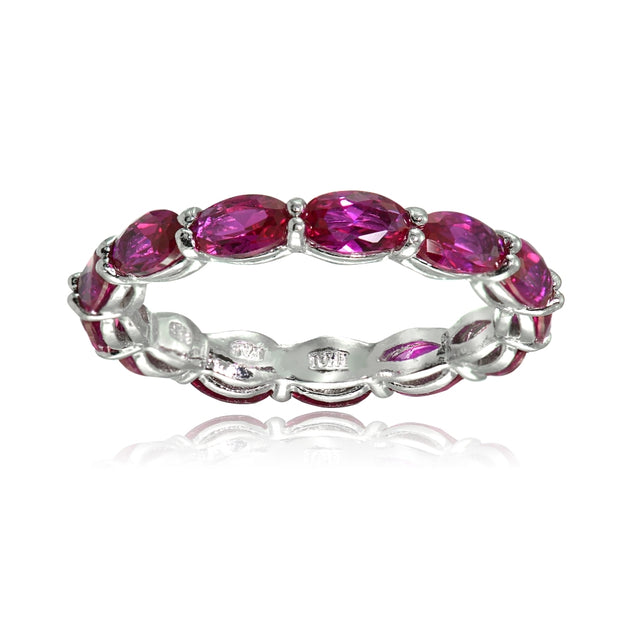 Sterling Silver Created Ruby x3mm Oval-cut Eternity Band Ring