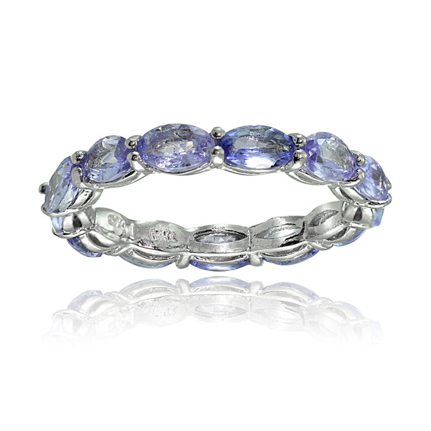 Sterling Silver Tanzanite 5x3mm Oval-cut Eternity Band Ring