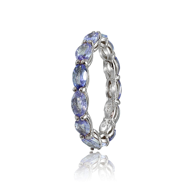 Sterling Silver Tanzanite x3mm Oval-cut Eternity Band Ring