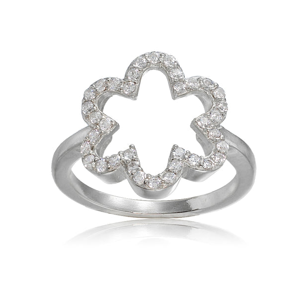 Sterling Silver Cubic Zirconia Open Flower Ring,