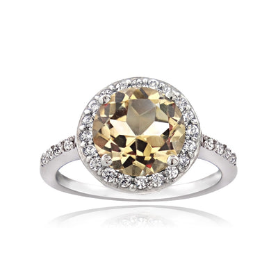 Sterling Silver Citrine and Cubic Zirconia Round Halo Ring, Size 7