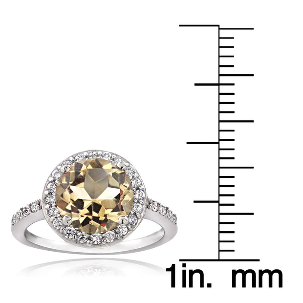 Sterling Silver Citrine and Cubic Zirconia Round Halo Ring,