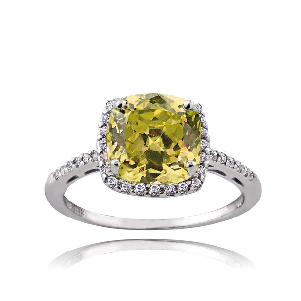Sterling Silver Citrine and Cubic Zirconia Cushion-Cut Halo Ring,
