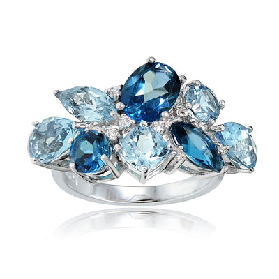 Sterling Silver London Blue, Blue Topaz, and White Topaz Cluster Tonal Ring