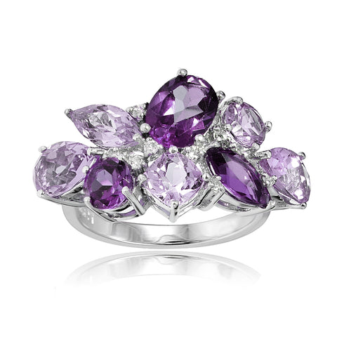 Sterling Silver African Amethyst, Amethyst, and White Topaz Cluster Tonal Ring
