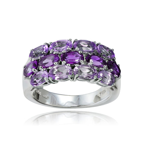 Sterling Silver African Amethyst and Amethyst 3-Row Ring