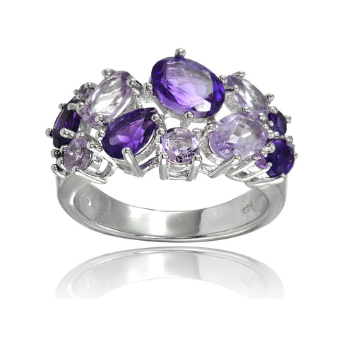 Sterling Silver African Amethyst and Amethyst Tonal Cluster Ring