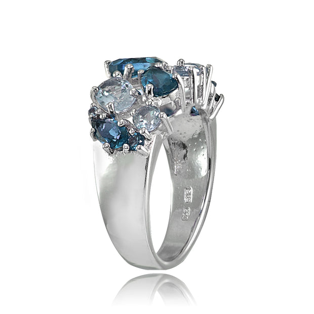 Sterling Silver London Blue Topaz and Blue Topaz Tonal Cluster Ring
