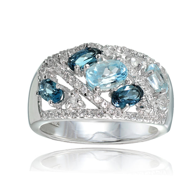 Sterling Silver London Blue, Blue and White Topaz Tonal Ring