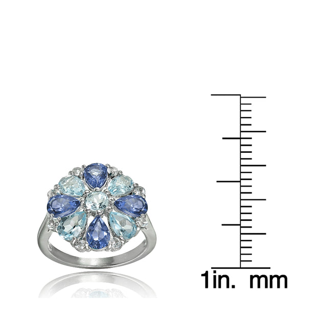 Sterling Silver Tanzanite, Aquamarine and White Topaz Flower Ring