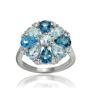 Sterling Silver London Blue, Blue and White Topaz Flower Ring