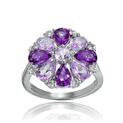 Sterling Silver African Amethyst, Amethyst and White Topaz Flower Ring