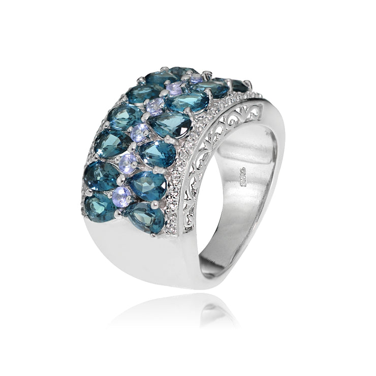 Sterling Silver Tanzanite, London Blue and White Topaz 2-row Ring