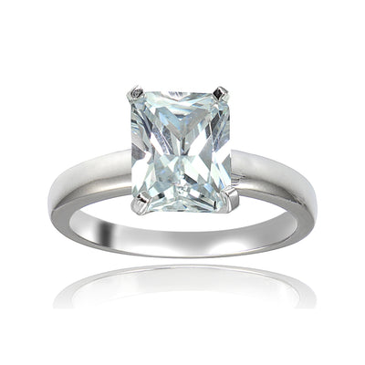 Sterling Silver 3.5ct Cubic Zirconia Emerald Cut Bridal Engagement Ring