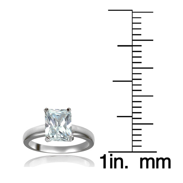 Sterling Silver 3.ct Cubic Zirconia Emerald-Cut Bridal Engagement Ring
