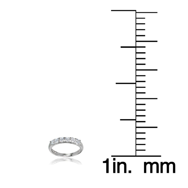 Sterling Silver Cubic Zirconia Half Eternity Anniversary Band Ring