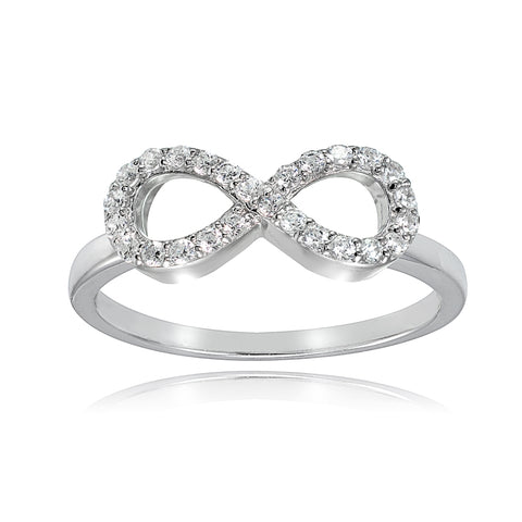 Sterling Silver Cubic Zirconia Figure 8 Infinity Ring
