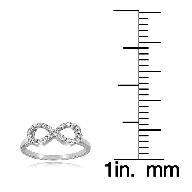 Sterling Silver Cubic Zirconia Figure Infinity Ring