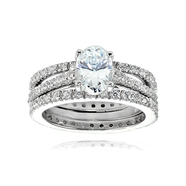 Sterling Silver 3ct TGW Oval Cubic Zirconia Bridal Wedding Band Ring Set