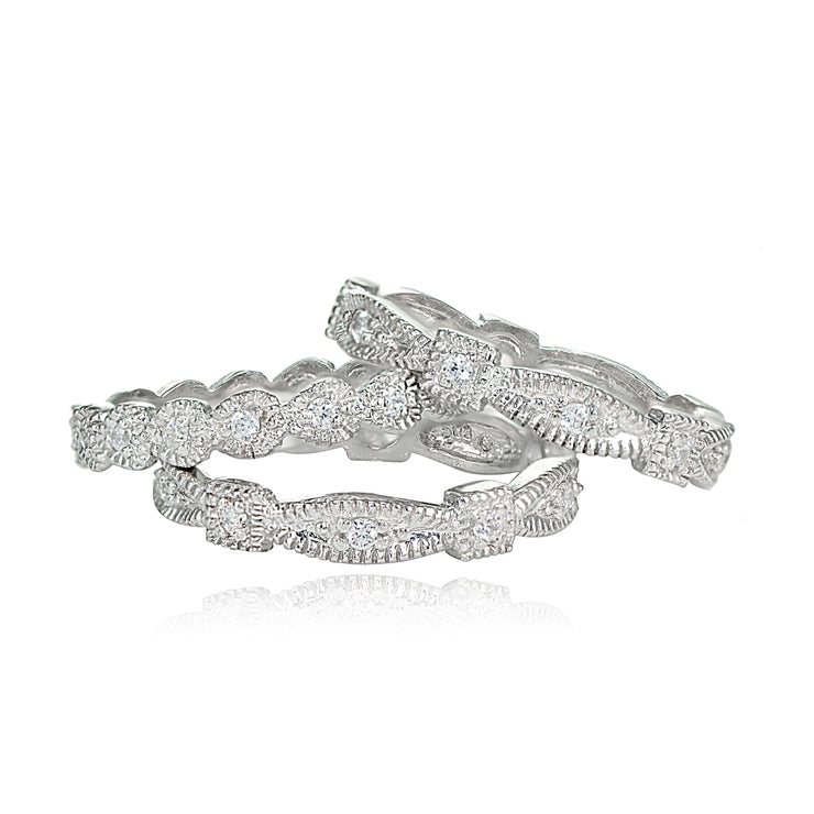 Sterling Silver Cubic Zirconia Textured Stackable Trio Ring Set