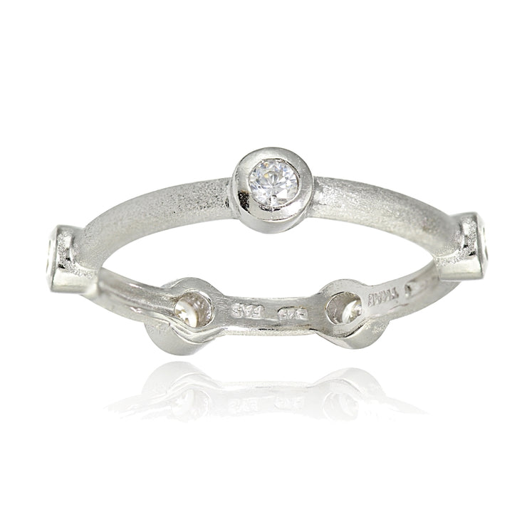 Sterling Silver Brushed Satin Cubic Zirconia Ring