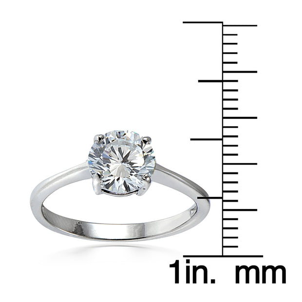 Sterling Silver 3.2ct TGW Cubic Zirconia Round Bridal Engagement Ring
