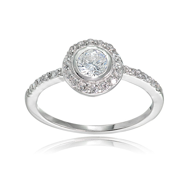 Sterling Silver Cubic Zirconia Round-cut Halo Bridal Engagement Ring