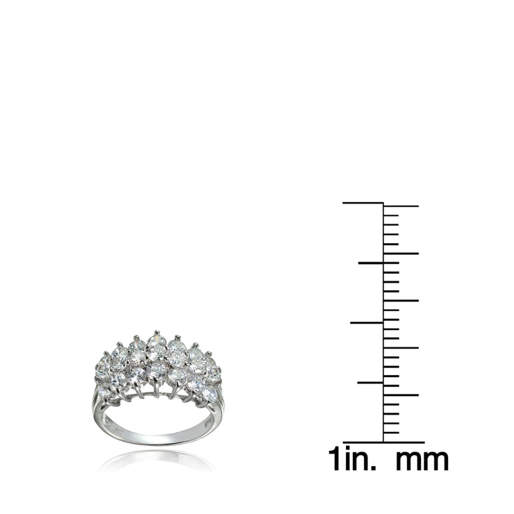 Sterling Silver Cubic Zirconia Three Row Half Eternity Anniversary Band Ring