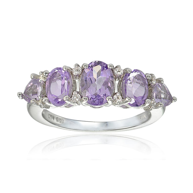 Sterling Silver Amethyst and White Topaz -Stone Half Eternity Band Ring