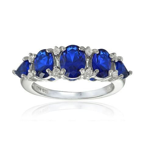 Sterling Silver Created Blue Sapphire and White Topaz 5-Stone Half Eternity Band Ring