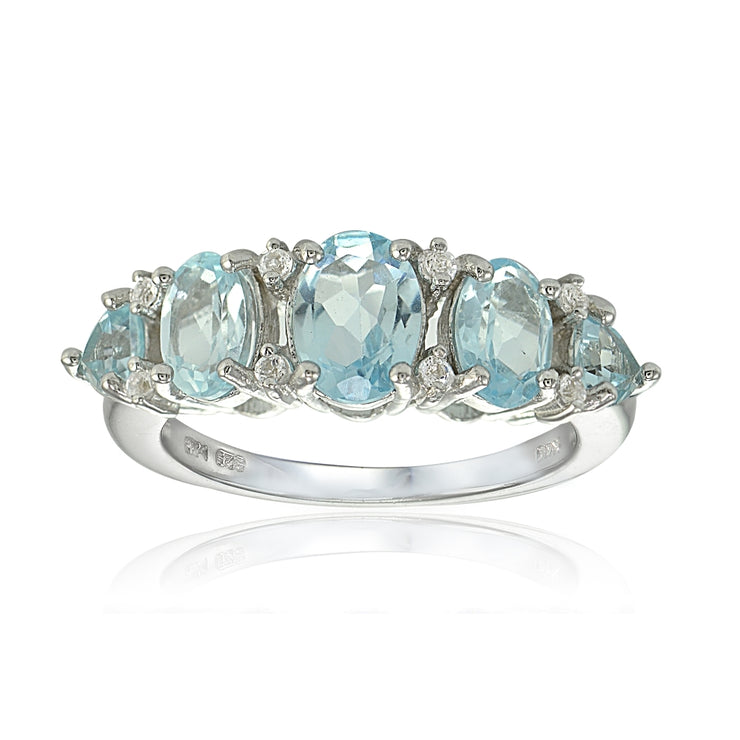 Sterling Silver Blue and White Topaz -Stone Half Eternity Band Ring