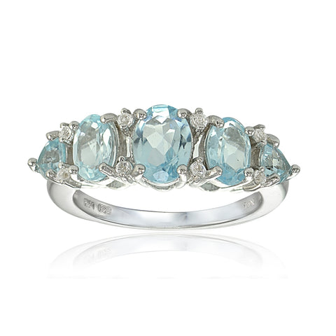 Sterling Silver Blue and White Topaz 5-Stone Half Eternity Band Ring