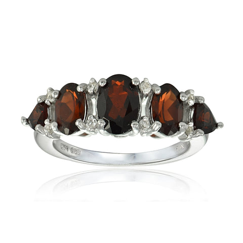 Sterling Silver Garnet and White Topaz 5-Stone Half Eternity Band Ring