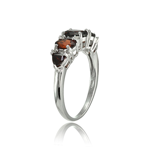 Sterling Silver Garnet and White Topaz -Stone Half Eternity Band Ring