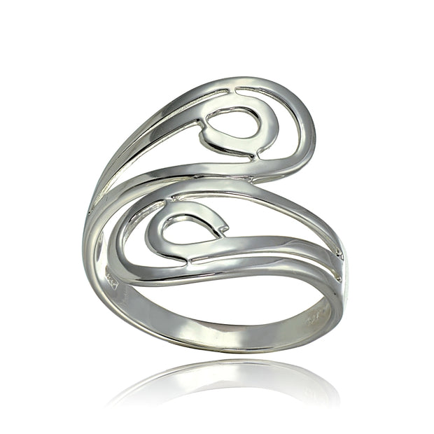 Sterling Silver High Polished Open Wrap Swirl Fashion Ring