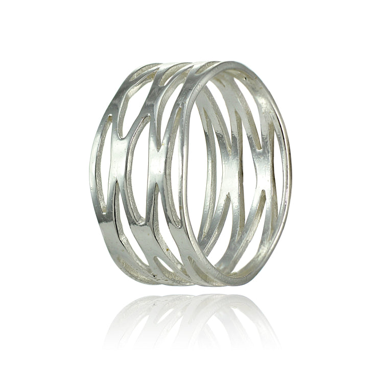 Sterling Silver High Polished Multi Wrap Band Ring,