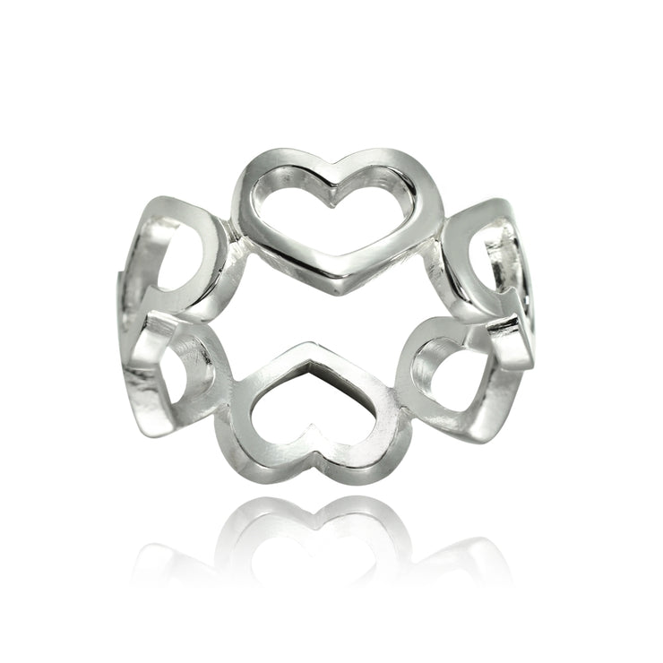 Sterling Silver High Polished Open Heart Eternity Band Ring